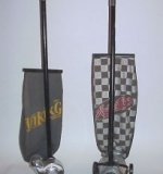 These are two fine examples of friction vacuum cleaners.  The vacuum on the left is called the Viking.  It was manufactured by The Vital Co.  I purchased it at a flea market many years ago.  The seller let me have it for five dollars because he couldn't test it, since the cord was missing!  The cleaner on the right is known as the Kwick-Kleen.  It was one of the early friction vacuums sold by Sears Roebuck in their well known mail order catalog.