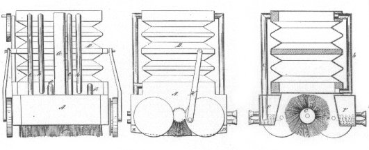 early technical drawing of a vacuum cleaner