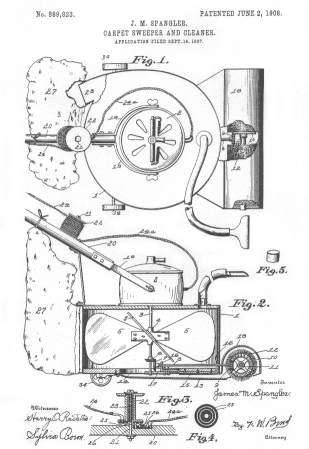 technical drawing of a carpet sweeper and cleaner